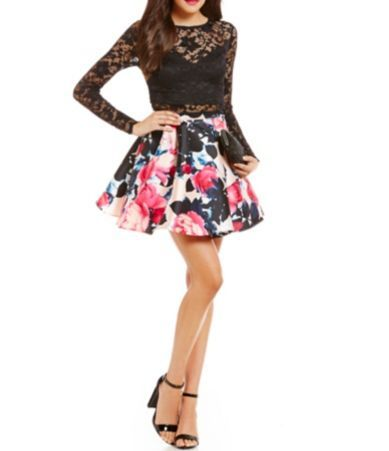 B Darlin Long Sleeve Lace Top To Floral Skirt Two Piece