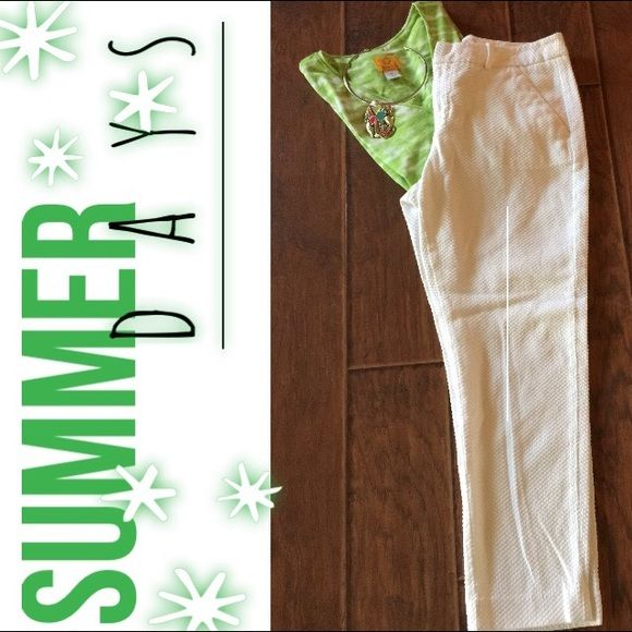 """Unique White Capris These crisp white waffle textured capris are ready for """"Summertime"""". They have a 32' waist, 26' inseam and 10' rise.  They are 98% cotton and 2% spandex Merona Pants Capris"""