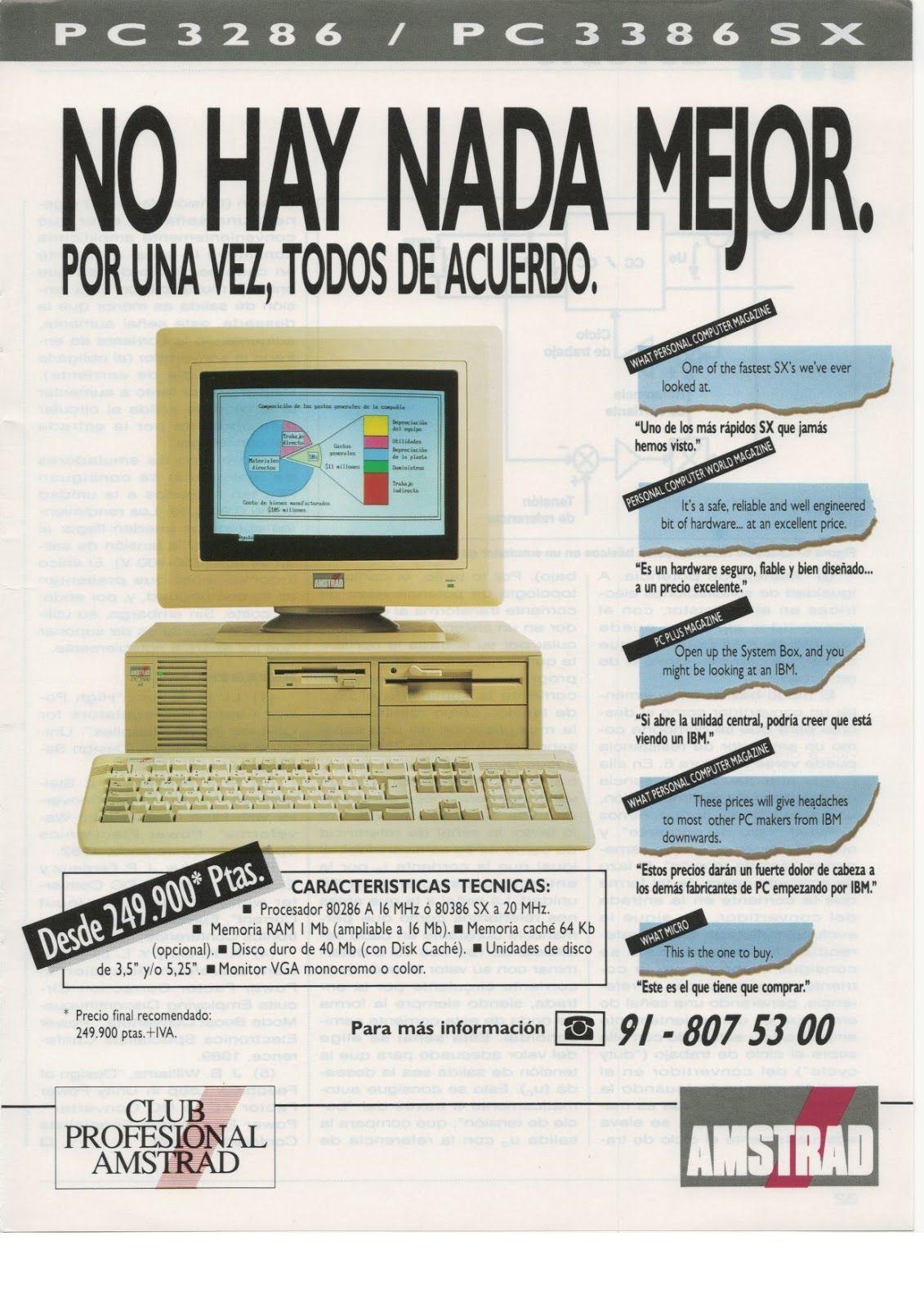 Informatica Viejuna: Amstrad PC serie 3000 #Informatica #vintage #retro  #español #publicidad #ordenadores #computadores #periferi… | Informática,  Computacion, Retro