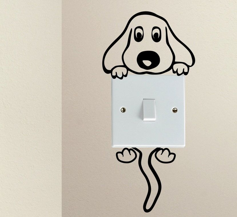 Cute Dog Cartoon Doggy Puppy Baby Pet Light Switch Funny Vinyl Love