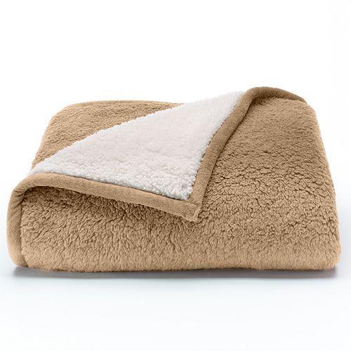 Cuddl Duds Premium Sherpa Fleece Throw Fleece Throw Grey Throw