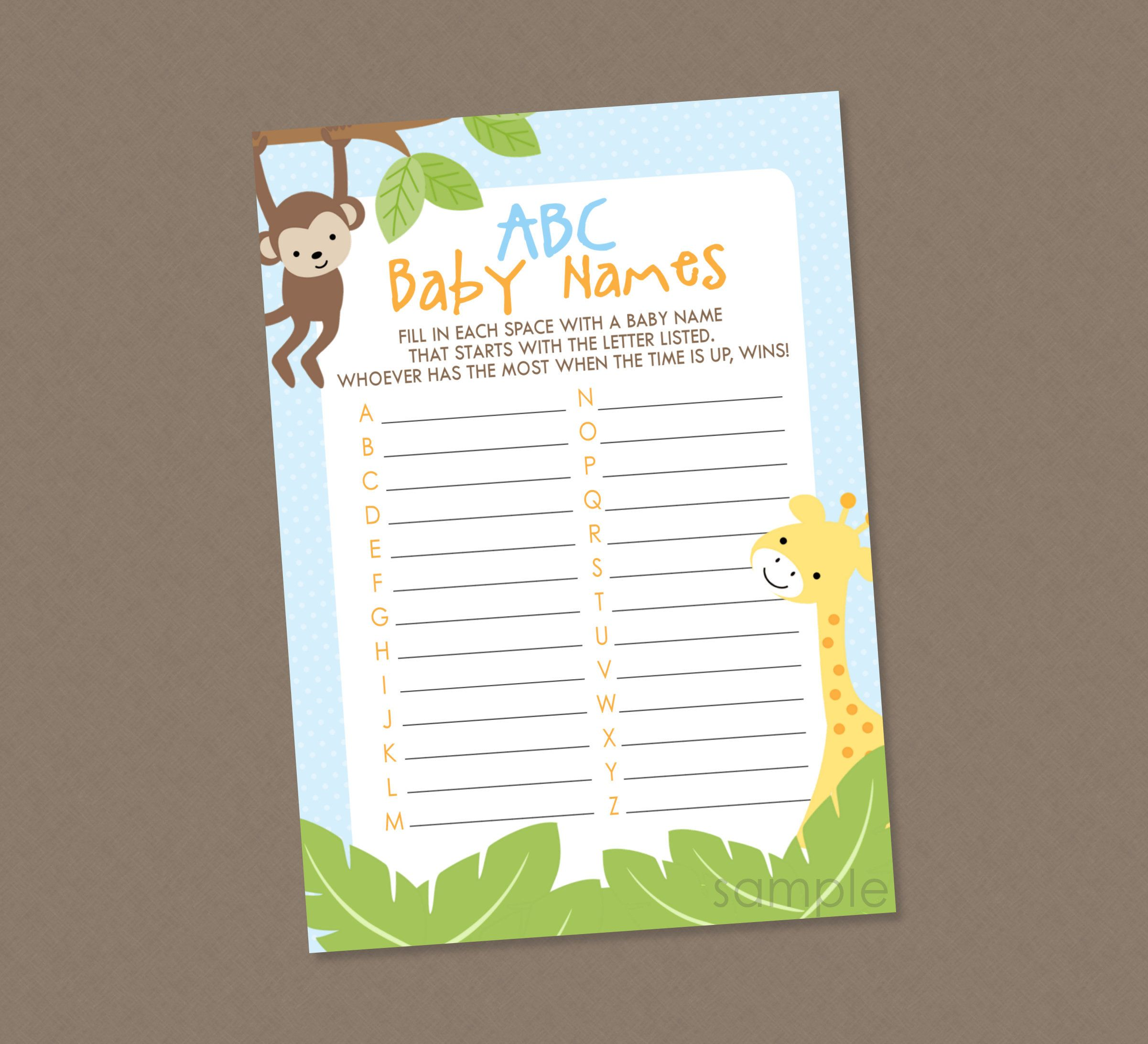 Safari ABC Baby Names Shower Game INSTANT DOWNLOAD