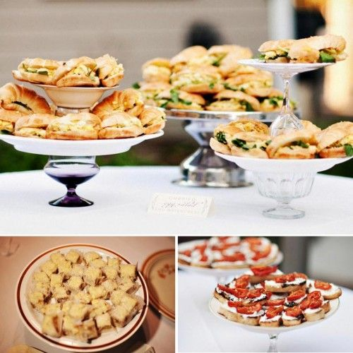 Wedding Finger Foods: Casual Finger Foods Displayed On Plates With Candy Dishes