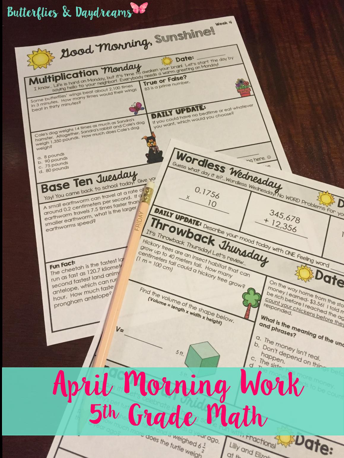 Morning Work 5th Grade {April} | Spring Classroom Ideas | Morning ...
