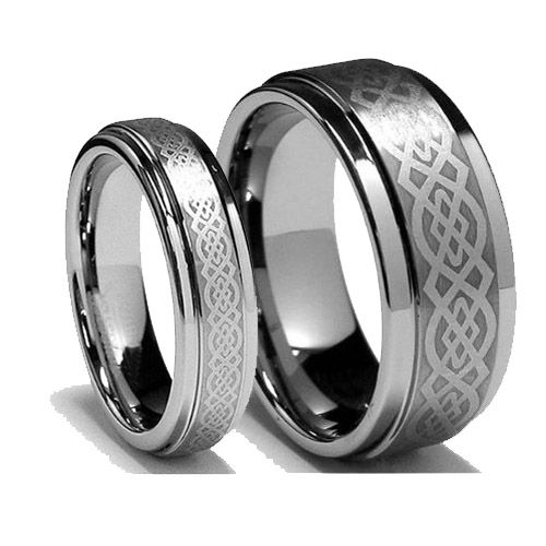 celtic knot titanium ring wedding couple ring - Irish Wedding Ring Sets