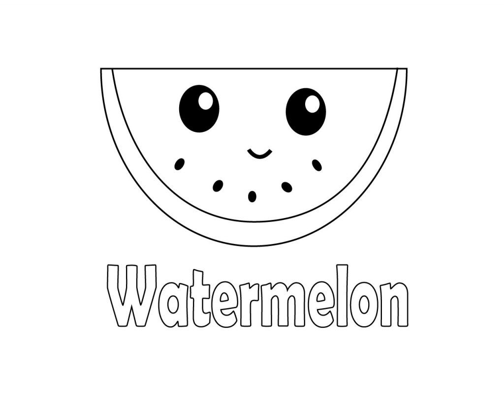 Cute Watermelon Coloring Pages