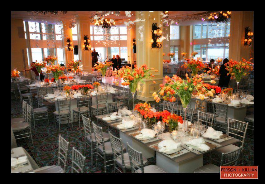 Orange And Yellow Wedding Reception In The Boston Harbor Hotel Wharf