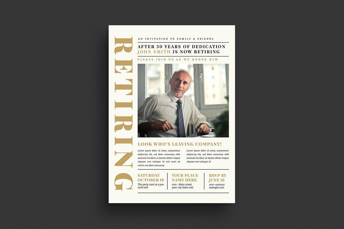 Newspaper Style Retirement Invitatio