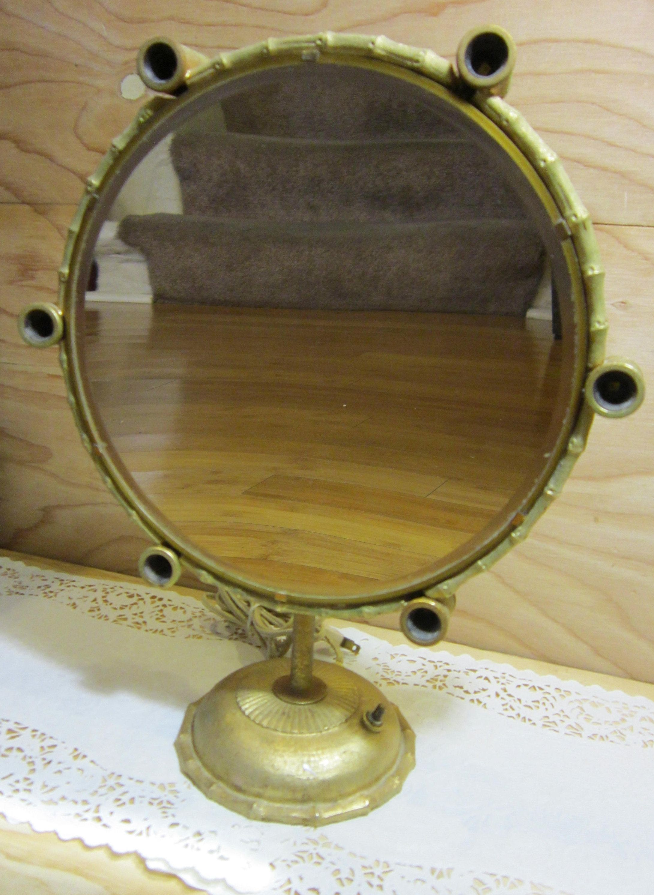 Vintage Lighted Vanity Makeup Mirror * Brass Magnifying