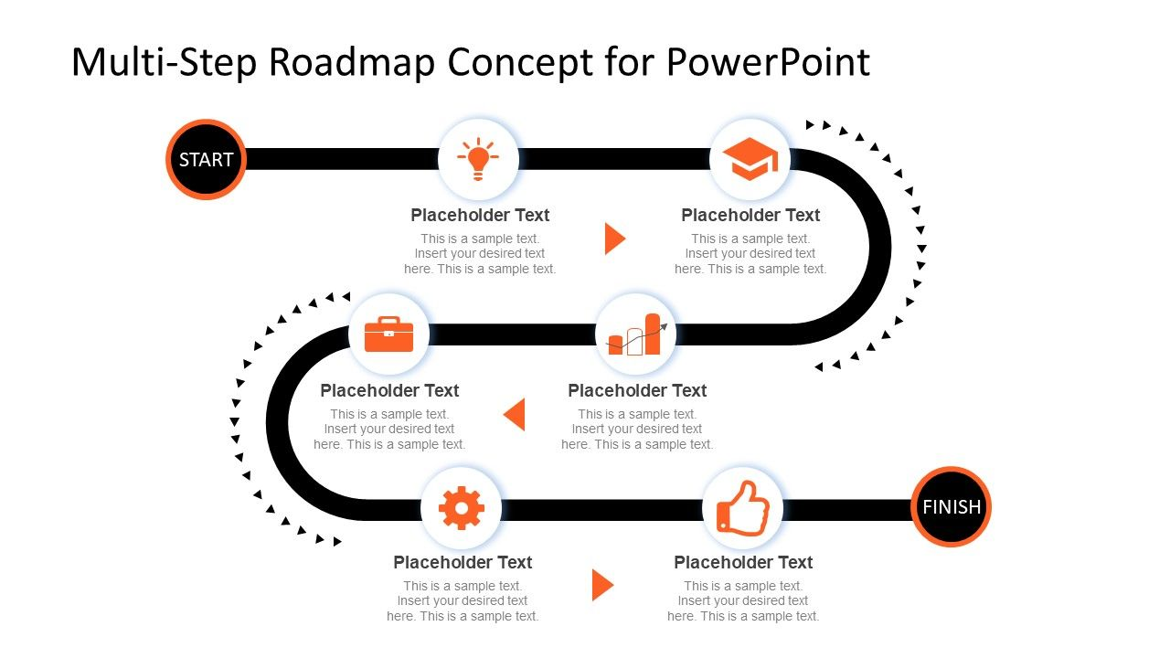Multi Step Roadmap Journey Concept For Powerpoint Slidemodel Roadmap Infographic Powerpoint Roadmap