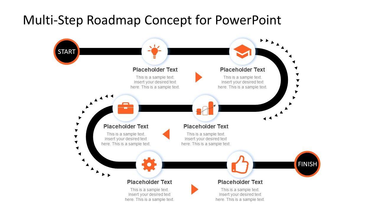 multi step roadmap journey concept for powerpoint slidemodel infographic design