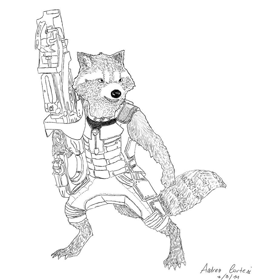 Rocket Raccoon Coloring Pages Printable Hd Guardians Of The