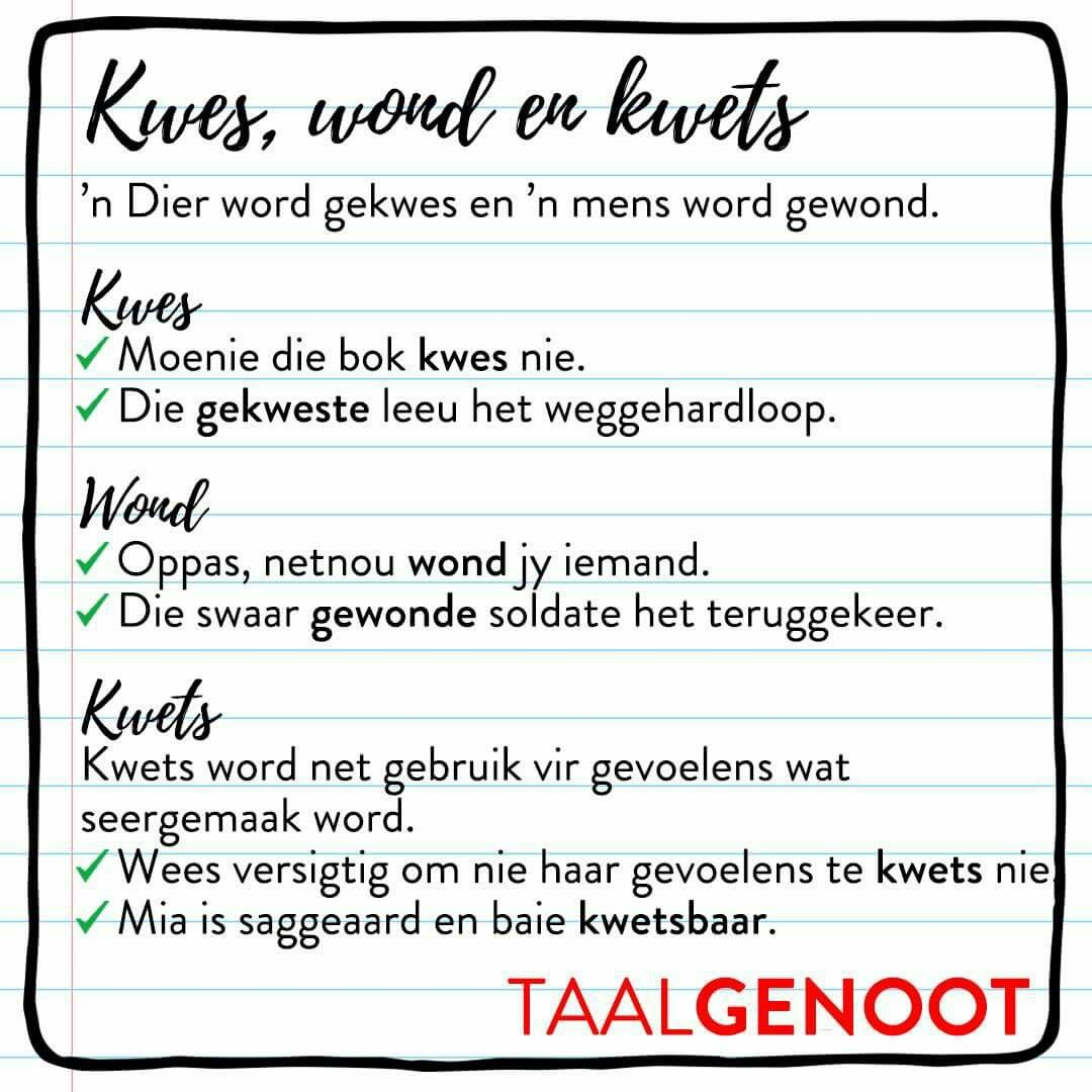 Kwes Wond Kwets Afrikaans Afrikaans Words Teaching