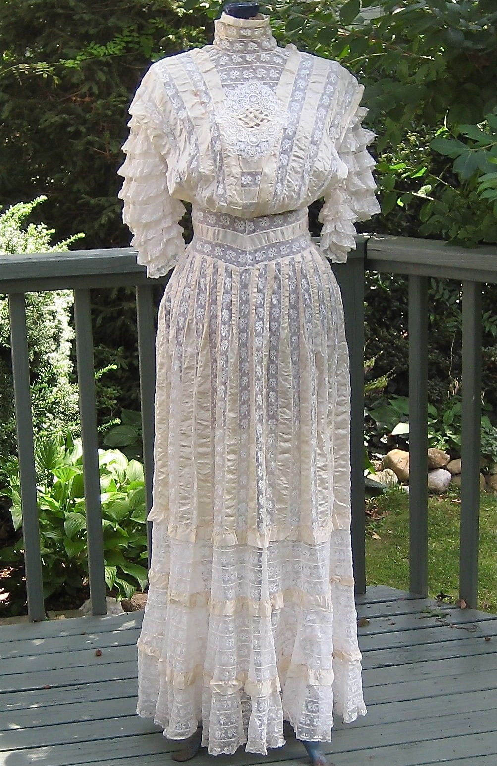 Antique Victorian / Edwardian Netted Lace & Ribbon Tea Dress ...
