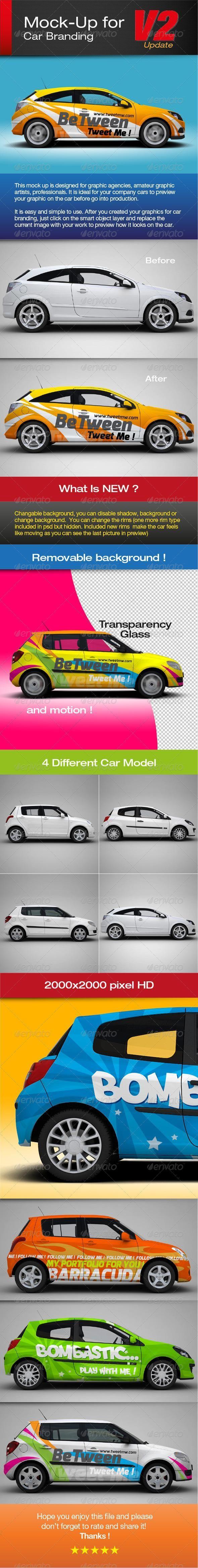 Mockup for car branding for 8 MockUp psd template