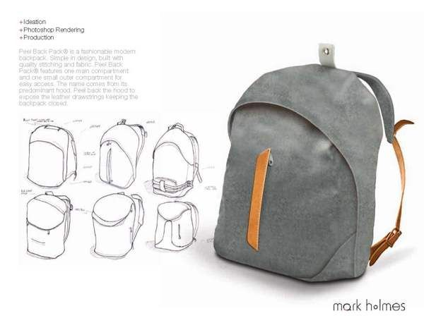 Peel Backpack Product by Mark Holmes, via Behance