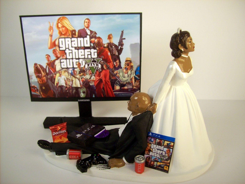 Funny Wedding Cake Topper Custom GTA 5 GAME Video Gamer Xbox One PS4 African American