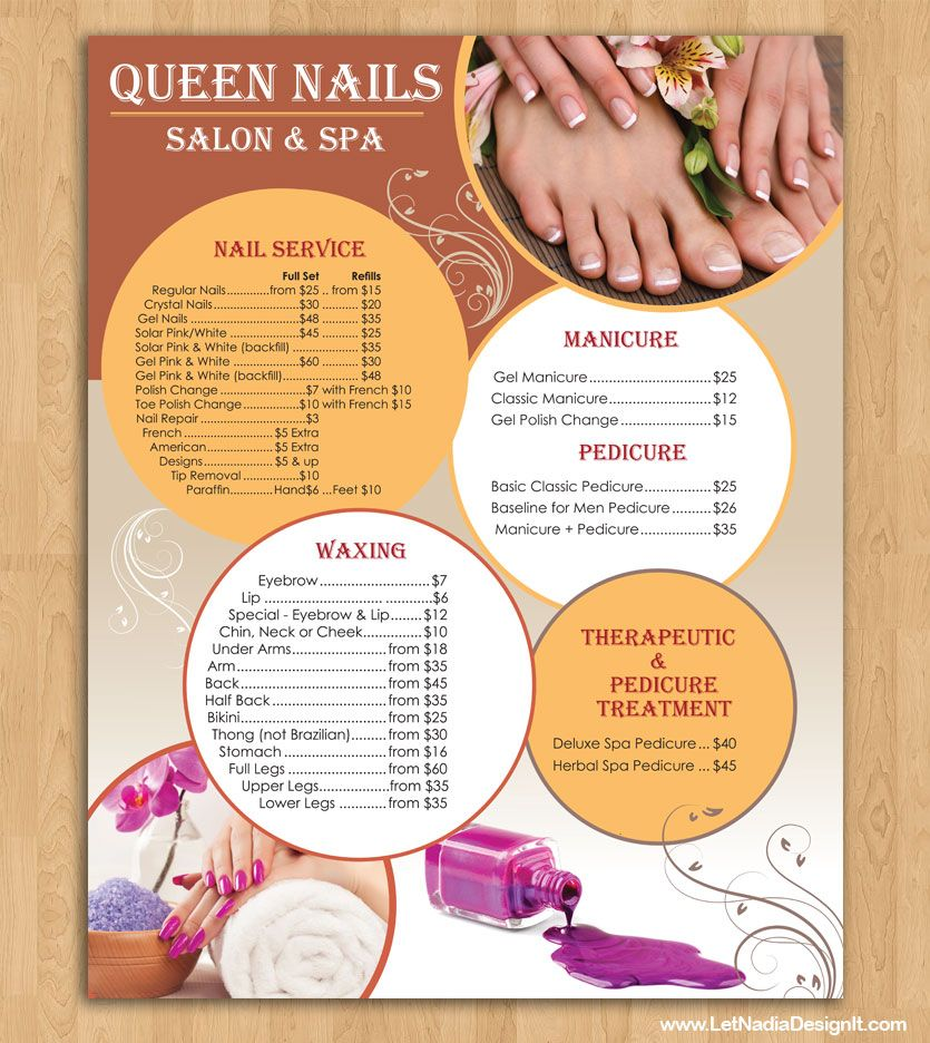 Are You Looking For A Fantastic Poster Or Price List Graphic Design For Nail Salon Let Nadia Design It Nail Salon Prices Nail Salon Design Nail Salon And Spa