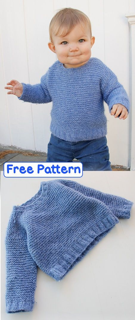 Free Knitting Pattern for an Easy Sweater for Babies and Children
