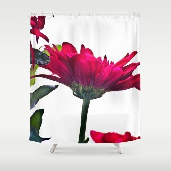 Red Chrysanthemum Flowers Shower Curtain