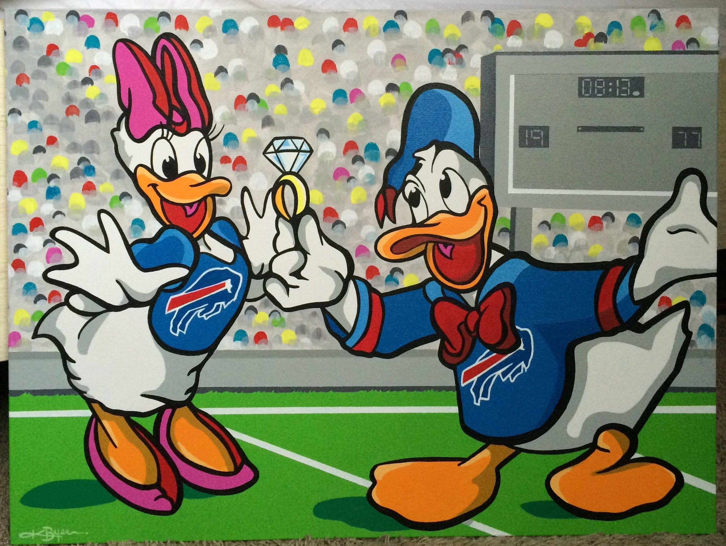 Custom Acrylic Daisy And Donald Duck Painting Art On Canvas Kent