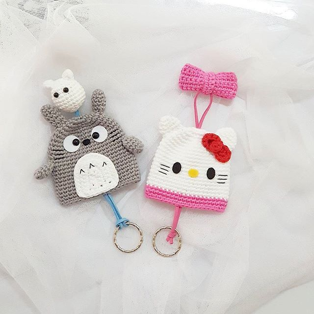 Thx for order Kitty&totoro key holder --made to order-- #amigurumi ...