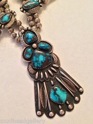 NAVAHO BISBEE TURQUOISE SQUASH BLOSSOM, ONE OF A KIND, AWESOME