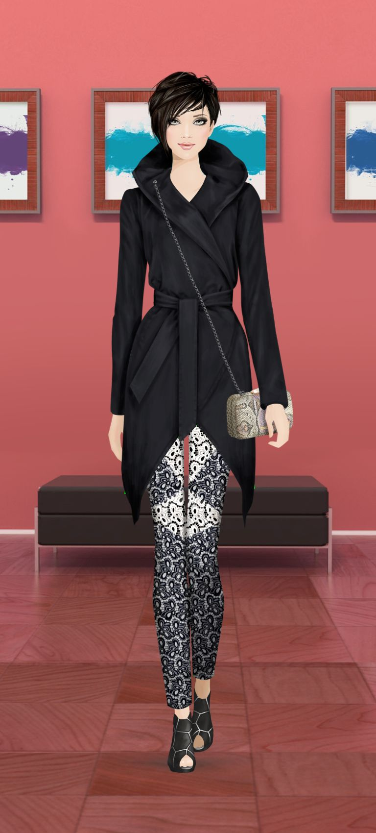 Look styled in Covet Fashion La Marque Jacket Rebecca Minkoff Pants Rebecca Minkoff bag United Nude Shoe