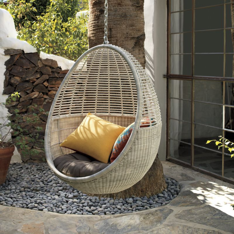 Al Fresco St Tropez Hanging Chair And Cushion Cane Dining Chairs Pod Outside Pinterest Cb2