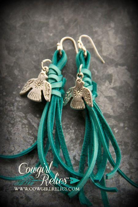 Turquoise Fringe Thunderbird Earrings