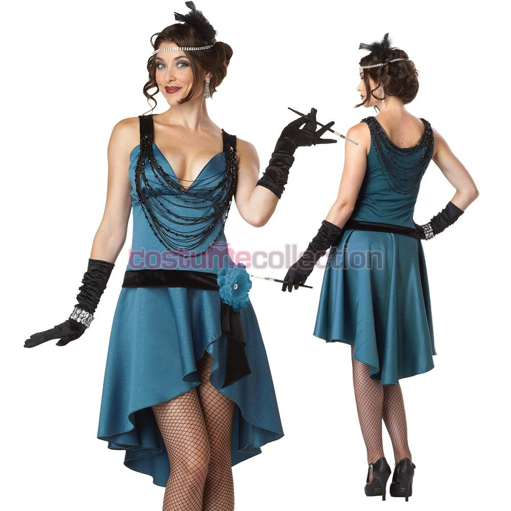 1920/'s Flirty Gatsby Blue Flapper Costume Includes Headband and Necklace