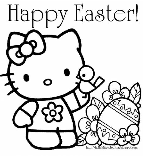 Hello Kitty Easter Coloring Page  For the Grandkids  Pinterest