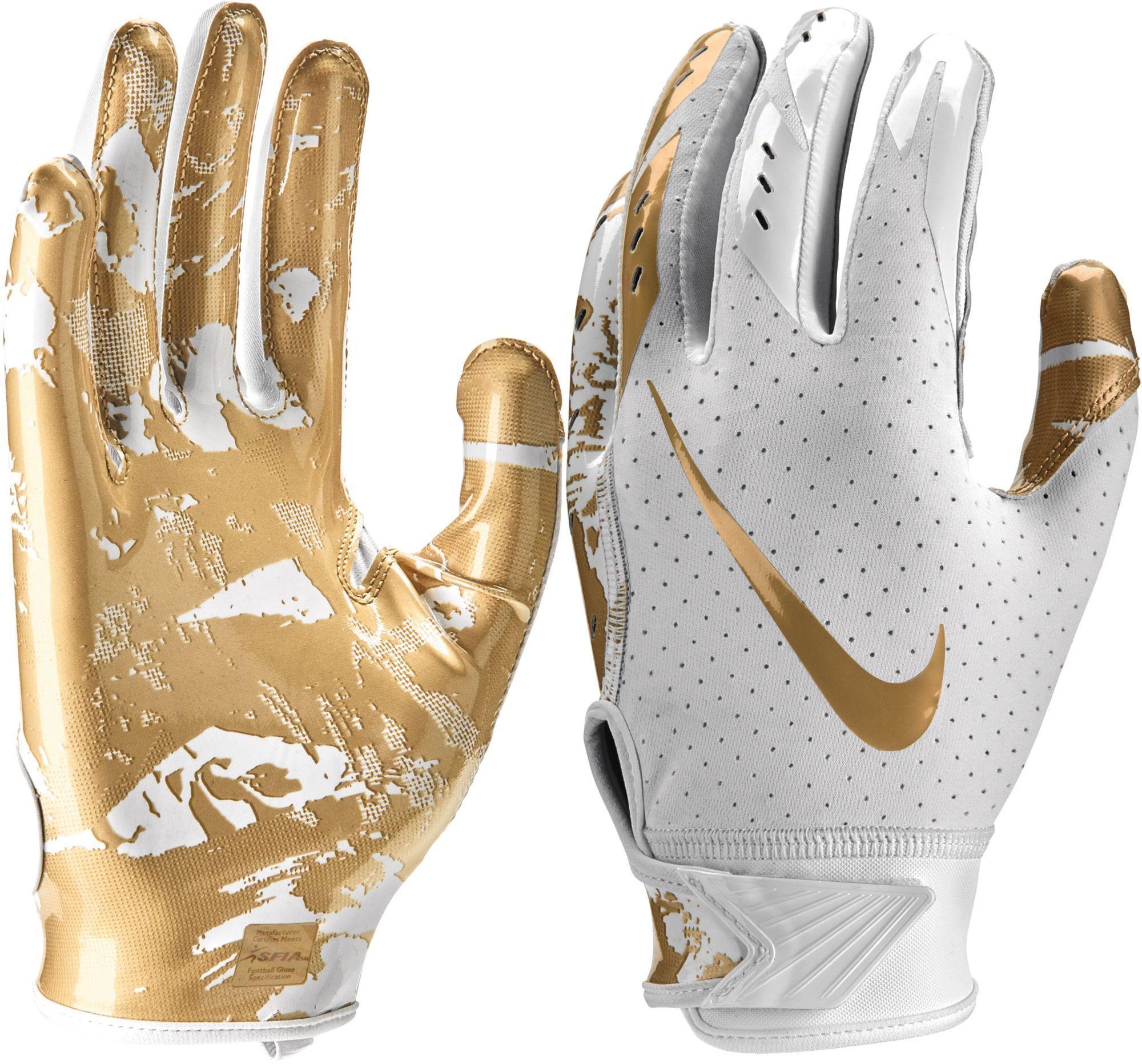 Nike Youth Vapor Jet 5 0 Receiver Gloves 2018 White Metallic Gold Vaporizers Gloves Nike Vapor Football Gear