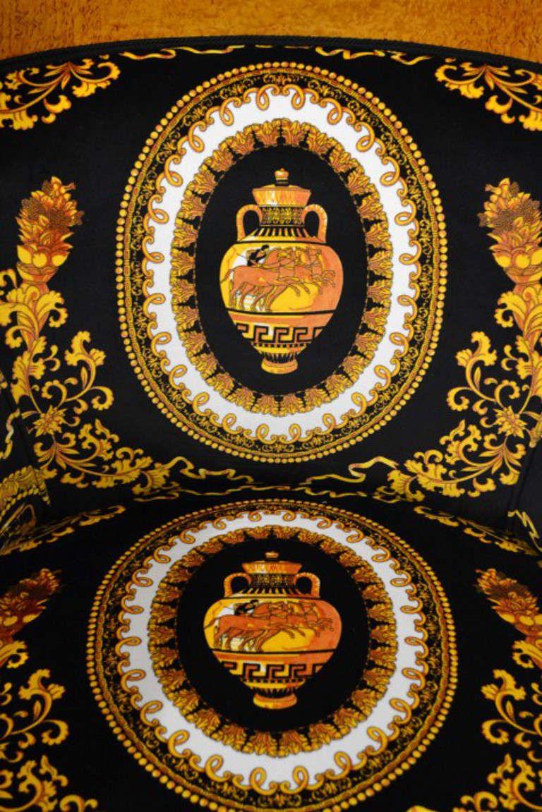 Versace Upholstery Fabric Stunning Pair Of Biedermeier Armchairs