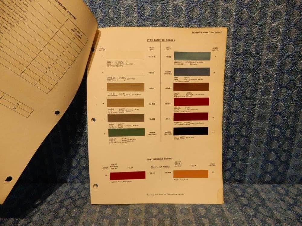 1963 Studebaker Avanti Truck Original Paint Color Chip Chart 3