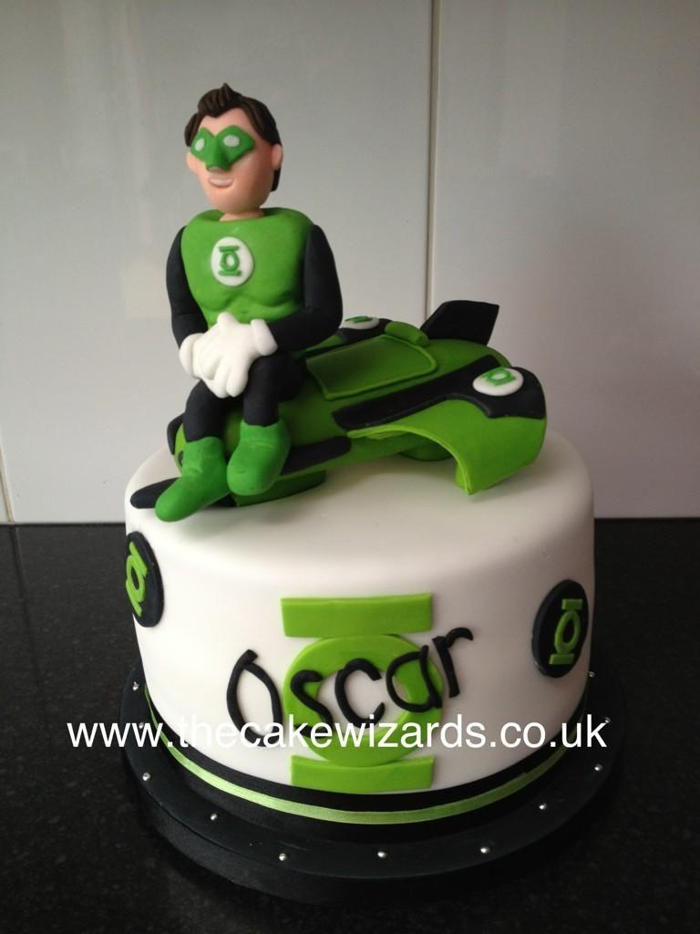 Green Lantern Superhero inspired cake topper Green Lantern Cake