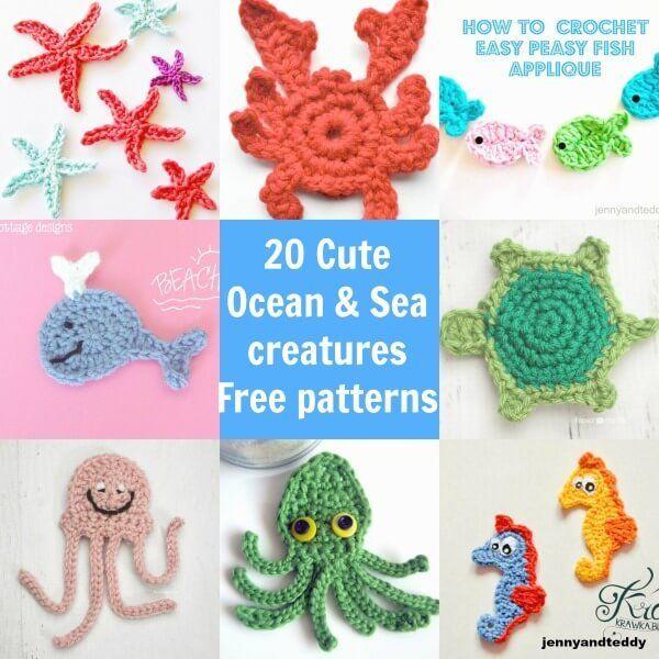 20 easy cute free ocean and sea creatures crochet applique free ...