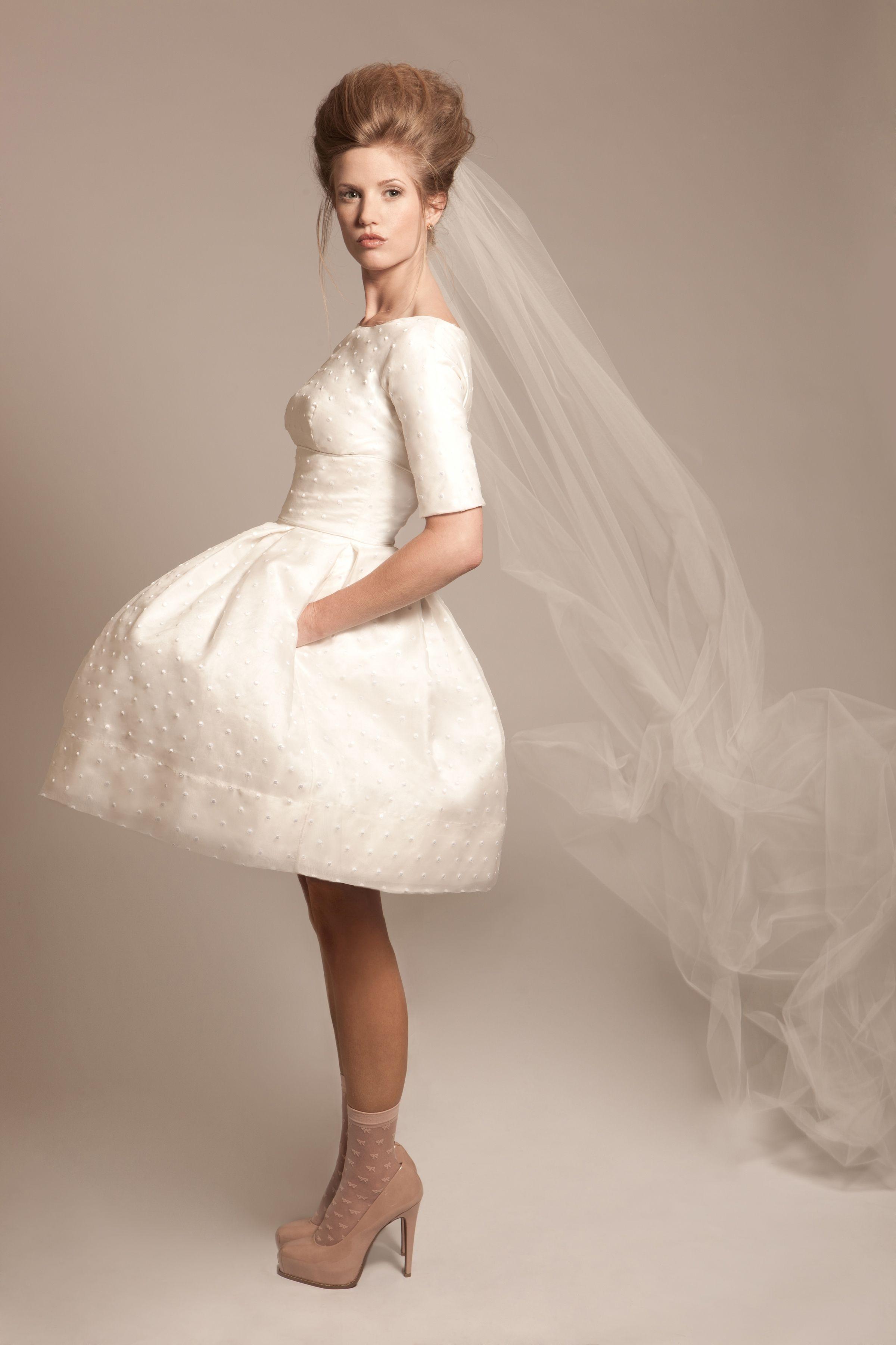 Illume vintage inspired short wedding dress wedding brides