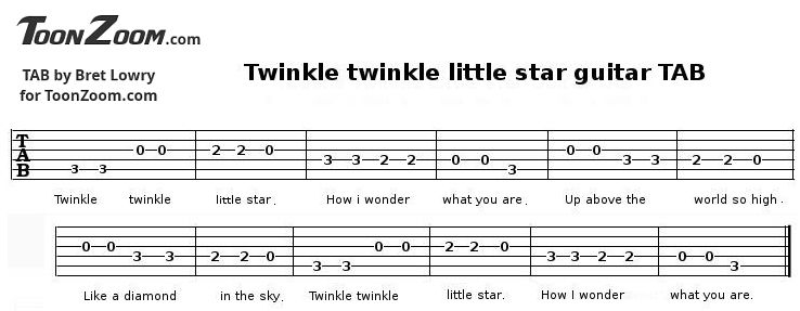Twinkle twinkle little star guitar tab melody made with