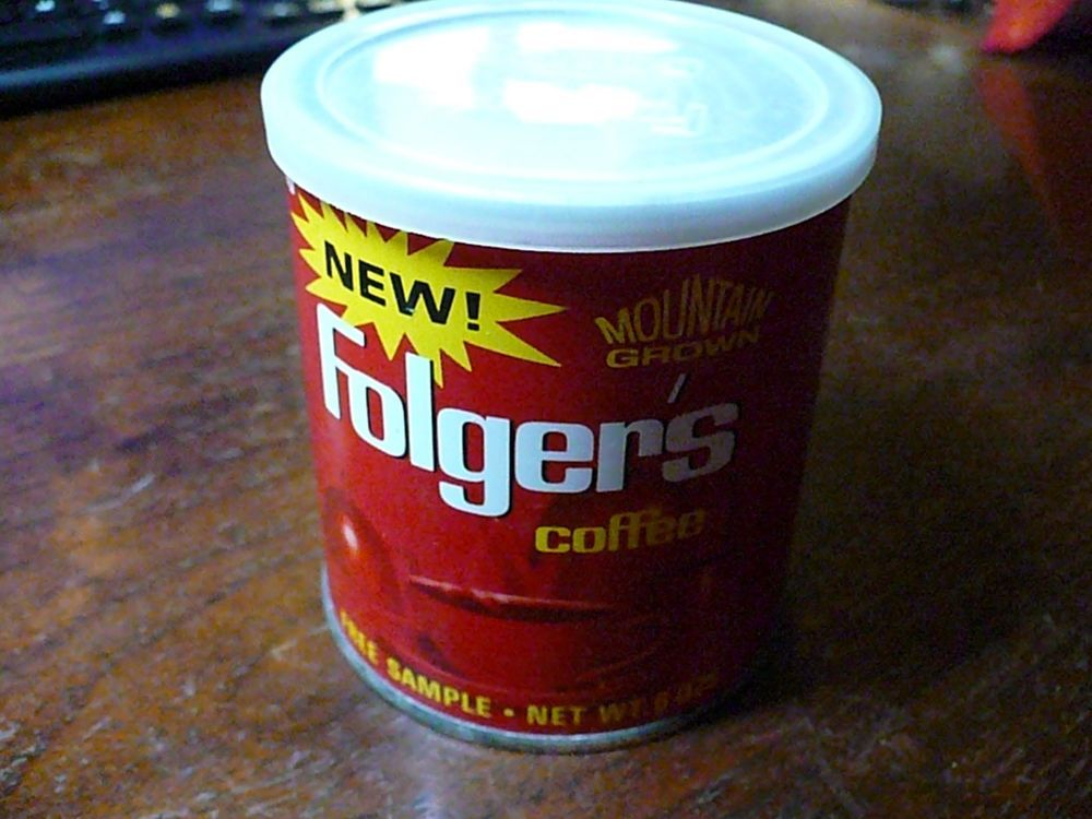 Vintage Folgers Coffee Can Free Sample Net Wt 6 ozs empty with the