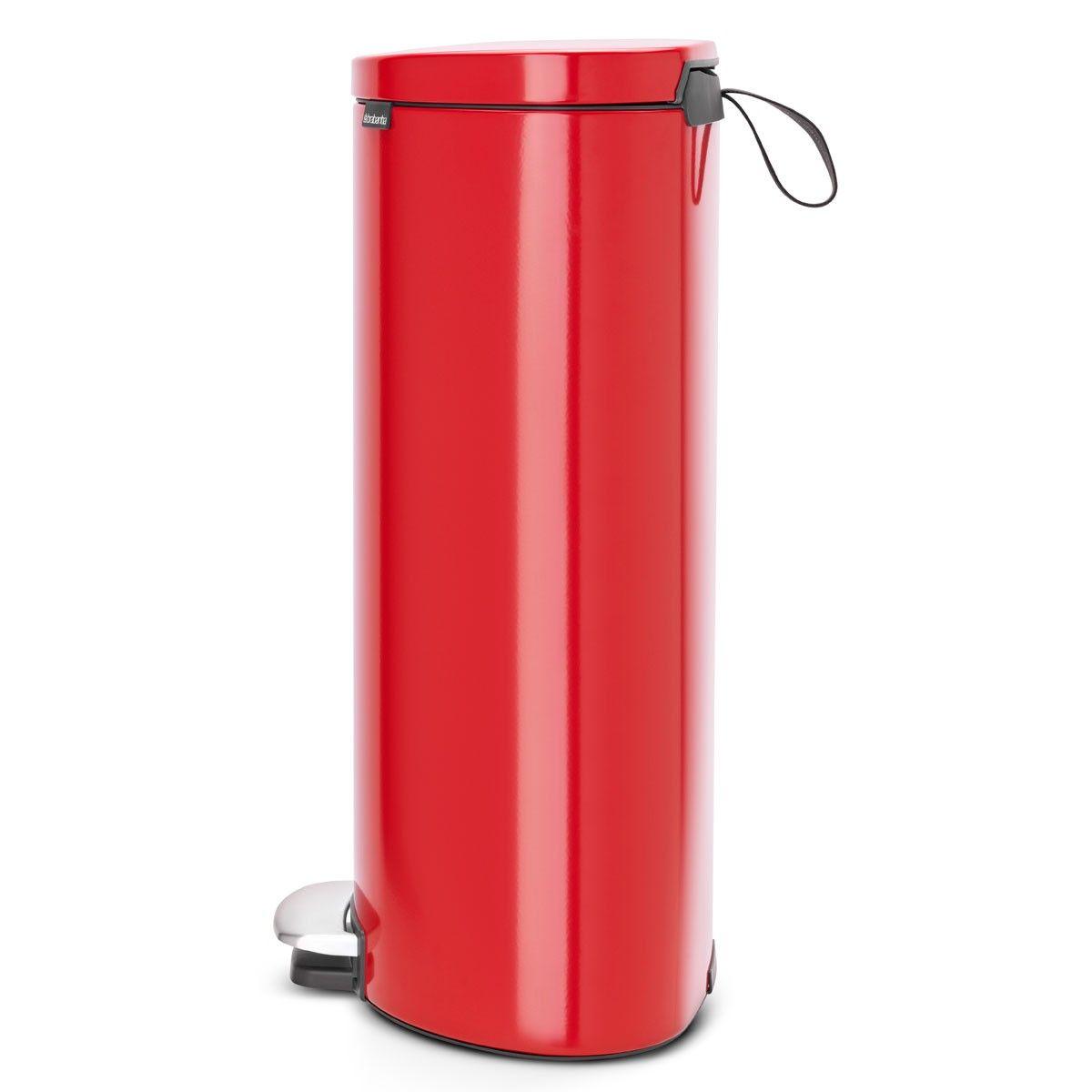 Brabantia Touch Bin Afvalverzamelaar 30 Liter.פח פדל אובלי Flatback גב שטוח 30 ליטר אדום תשוקה Brabantia פחי