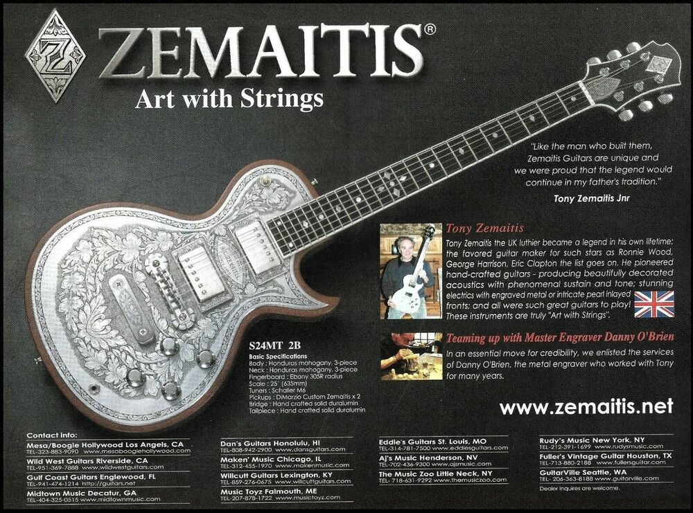 Tony Zemaitis S24mt 2b Metal Engraved Guitar Ad 2006 Advertisement Print Zemaitis Guitar Electric Guitar Custom Electric Guitars