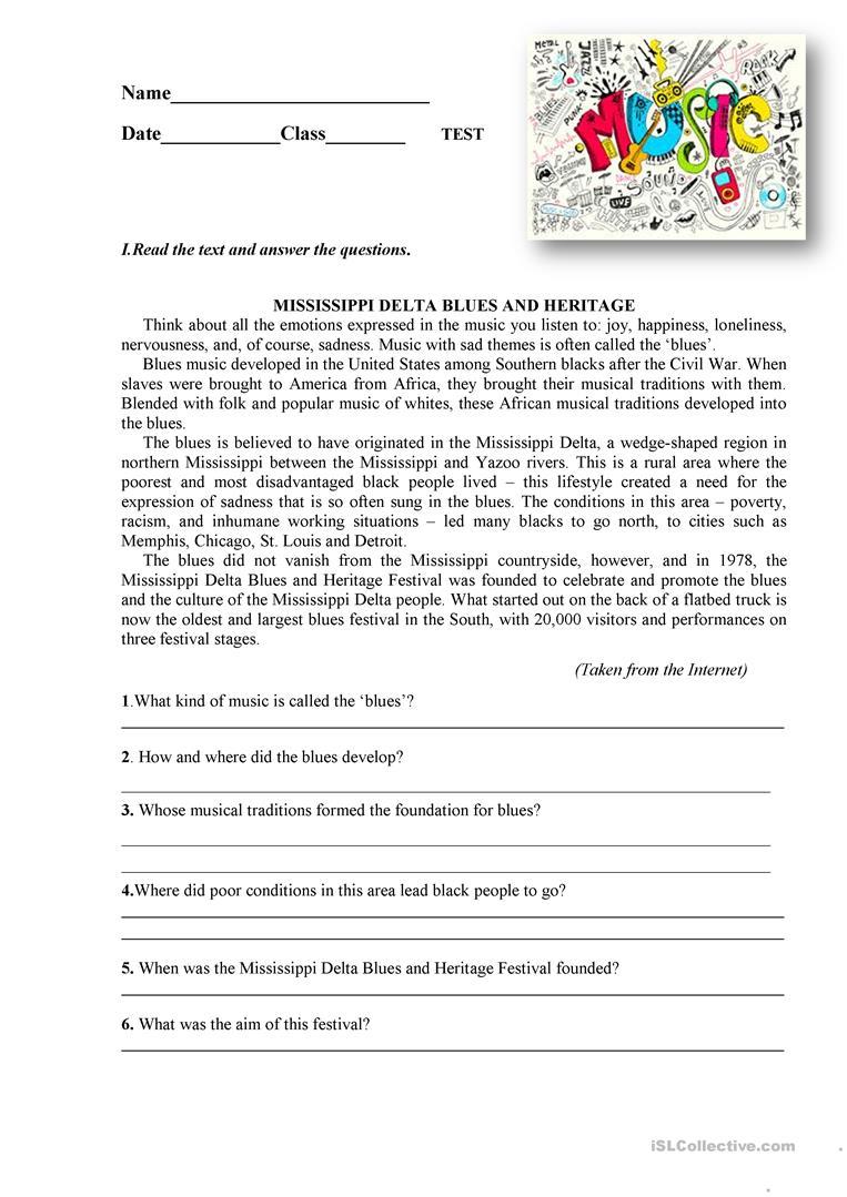 Music English Esl Worksheets Music Curriculum Writing Skills Music Worksheets [ 1079 x 763 Pixel ]