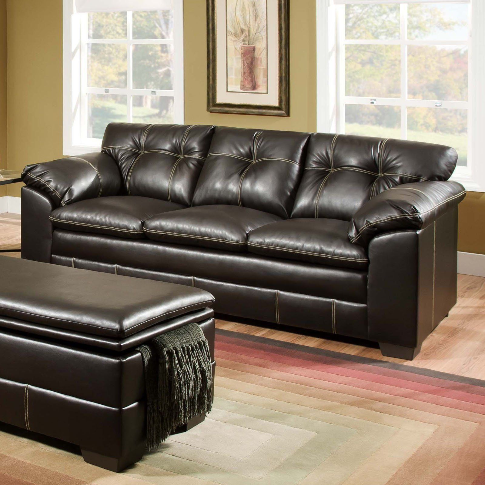 - Simmons Upholstery Premier Bonded Leather Sofa - 6769-03 PREMIER