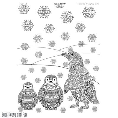 penguins winter coloring page for adults | penguins, easy peasy ... - Penguins Coloring Pages Printable
