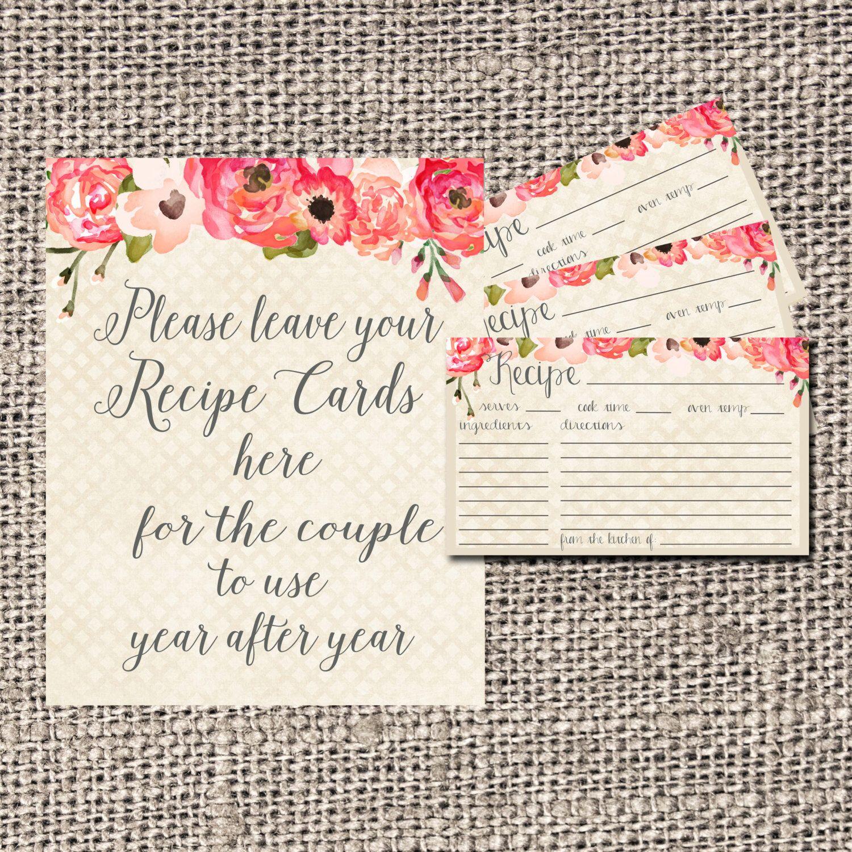 recipe card bridal shower recipe card flowers recipe card bridal tea recipe card