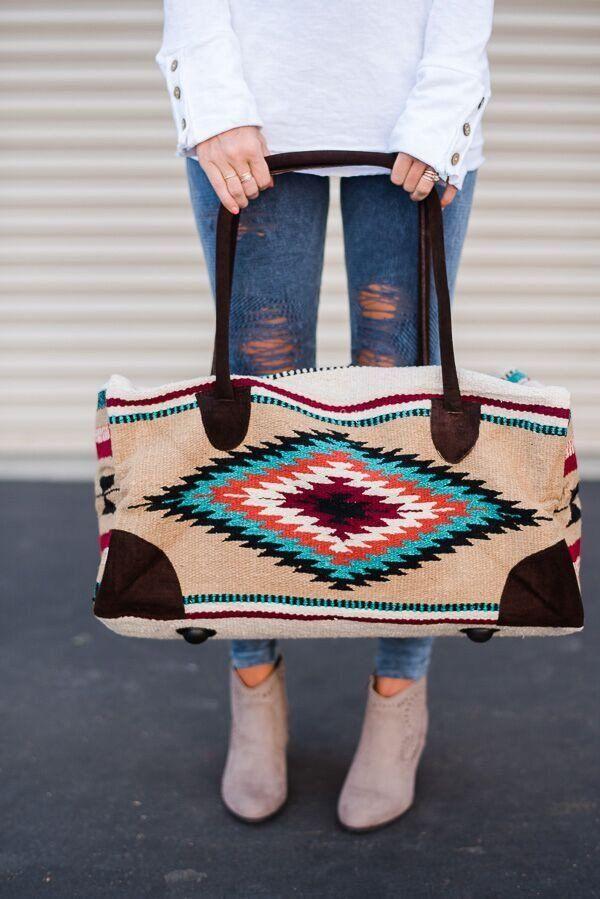 5aae7b216fee Oversized weekender travel bag in bohemian style beautiful wool carpet  makes our Southwestern Weekender Duffle Bag. This Southwestern blanket  style wool ...