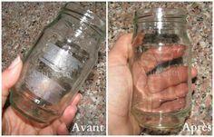 enlever la colle d 39 une tiquette sur un pot en verre astuces pinterest pot en verre. Black Bedroom Furniture Sets. Home Design Ideas