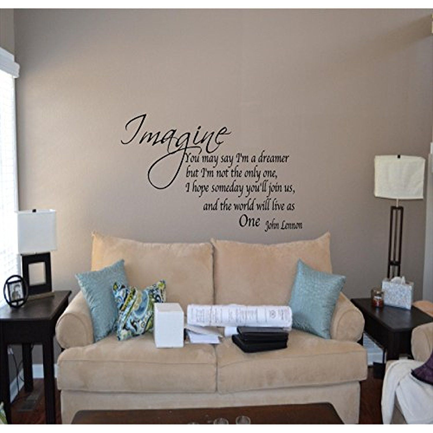 Quote It Imagine Removable Vinyl Wall Quotes John Lennon Wall Quotes Inspirational Quot Living Room Wall Decor Quotes Vinyl Wall Quotes Living Room Quotes #wall #decals #quotes #living #room