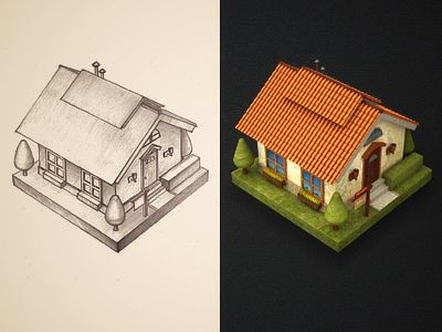 Dribbble House By Mike Creative Mints Icon Design App Icon Design Sketches